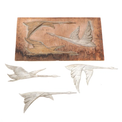 Wood and Metal Flying Geese Mold with Cast Metal Geese Decorations