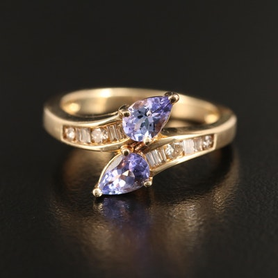 14K Tanzanite and Diamond Bypass Ring