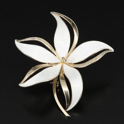 Norwegian Hroar Prydz Sterling Silver Enamel Flower Brooch