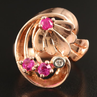 14K Rose Gold Ruby and Diamond Retro Style Ring