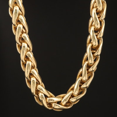 14K Wheat Link Necklace