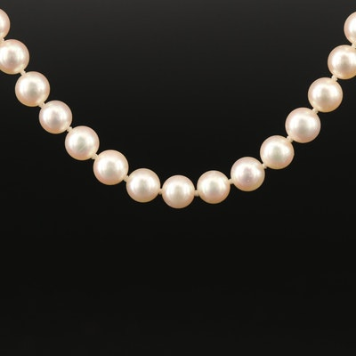 Mikimoto Knotted Pearl Necklace with Sterling Clasp