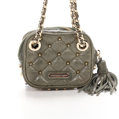 Rebecca Minkoff Mini Flirty Studded Shoulder Bag in Sage Leather with Tassel
