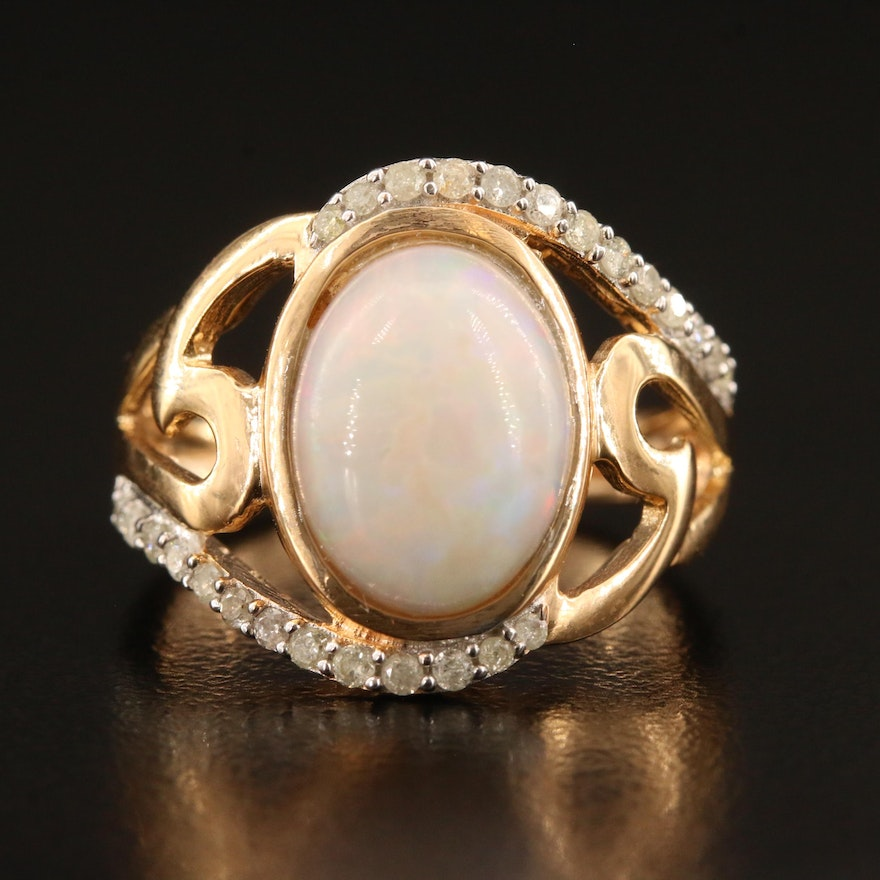 Sterling Silver Opal and Diamond Ring with Bypass Design