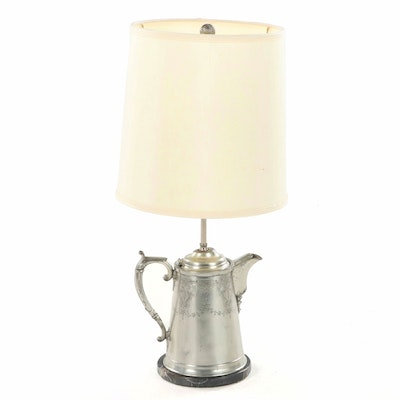 Silver Plate Water Pitcher Table Lamp, Late 19th Century and Adapted