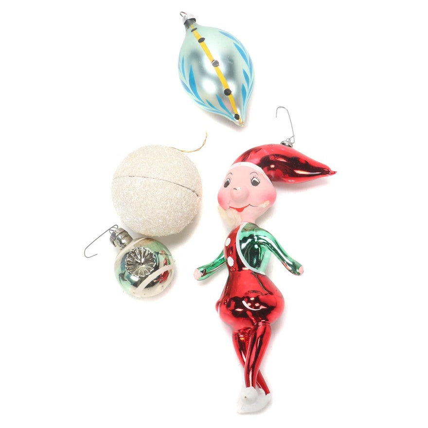 Shackman and Other Blown Glass Christmas Ornaments, 1950s