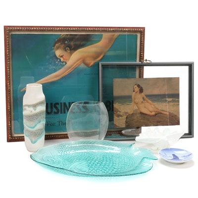 Ocean Themed Prints and Aquatic Styled Vases and Decorative Dishes