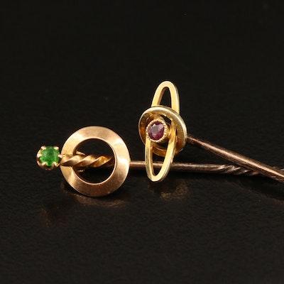 Victorian 15K and 9K Ruby and Demantoid Garnet Stick Pins