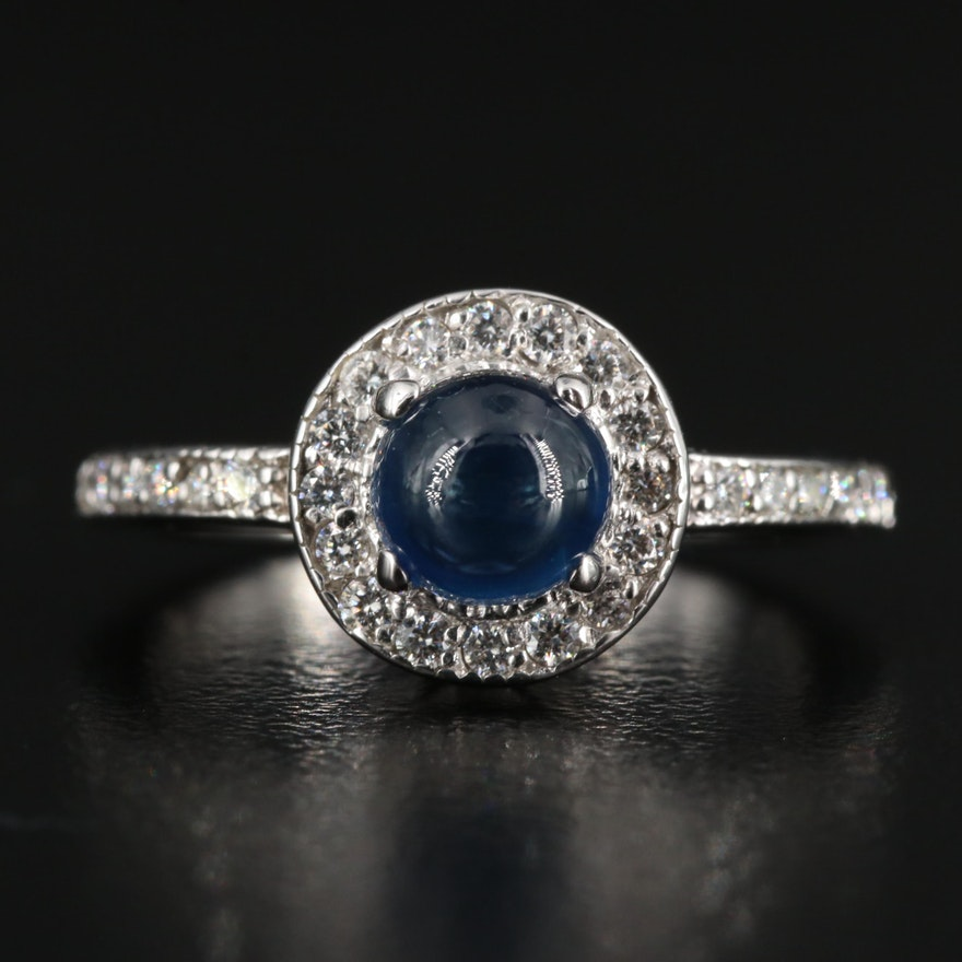 14K Sapphire Ring with Diamond Lined Shoulders and Halo