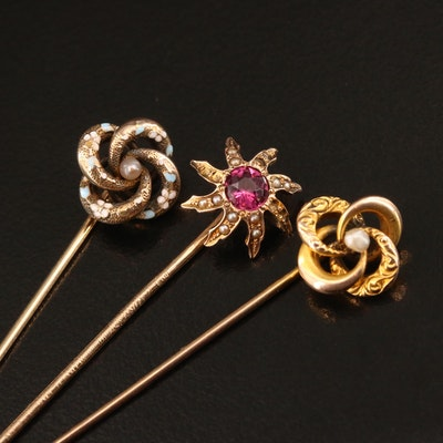 Victorian Stick Pins with Love Knot and Sun Burst Motifs