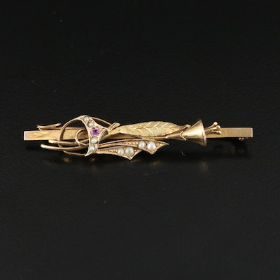 Victorian 9K Pink Sapphire and Seed Pearl Brooch