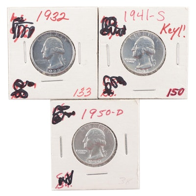 1932, 1941-S and 1950-D Uncirculated Washington Silver Quarters