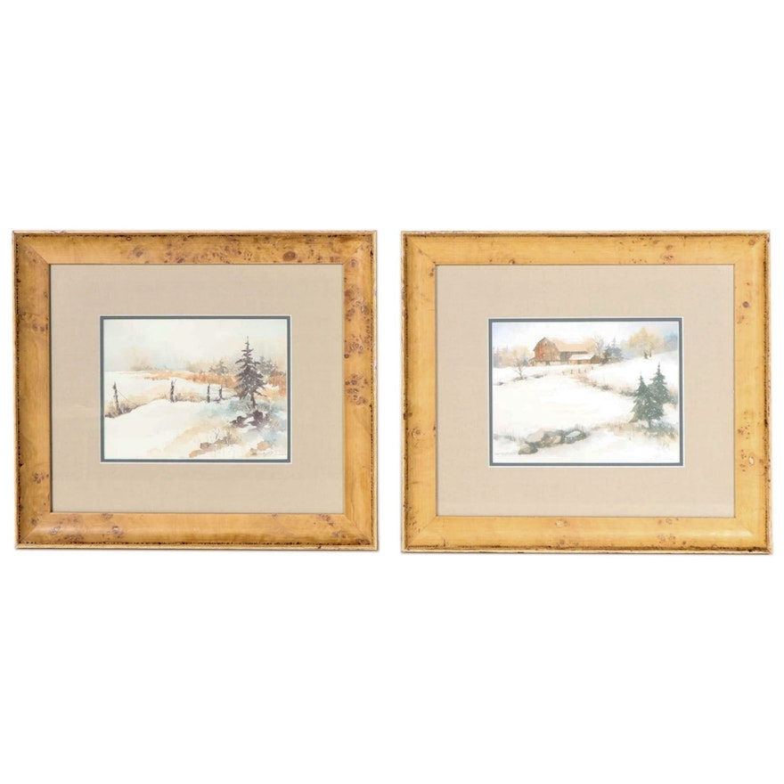 Winter Landscape Offset Lithographs, Late 20th-Early 21st Century