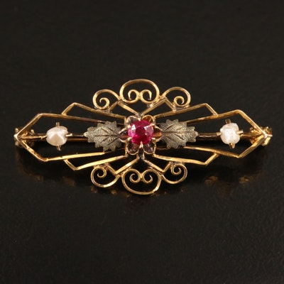 Early 1900s Ostby & Barton 10K Ruby and Seed Pearl Brooch