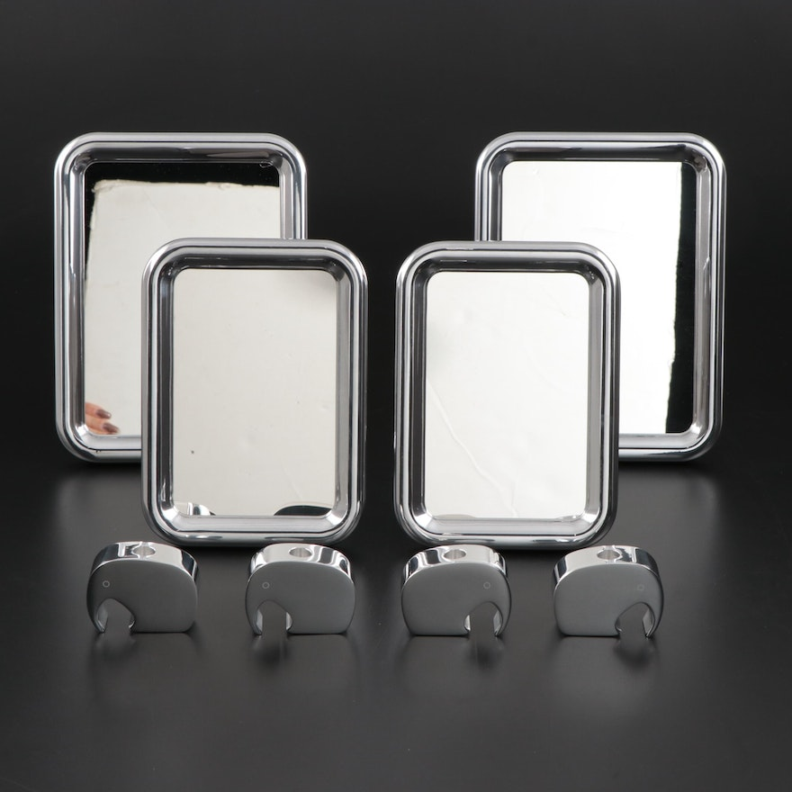 "Georg Jensen ""Tableau"" Aluminum Tabletop Mirrors and Elephant Candle Holders"