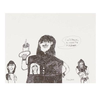 "Jeff Aurila Ink Drawing ""I Will Have, a Vanilla Milkshake,"" 21st Century"