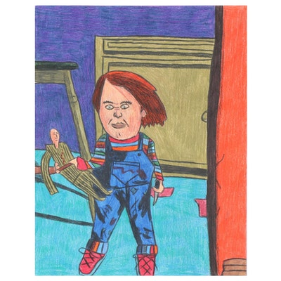 """Darian Johnson Colored Pencil Drawing of Chucky from """"Child's Play"""""""