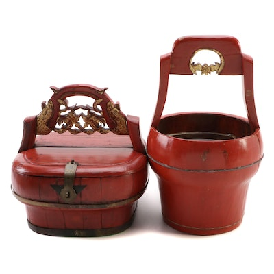 Chinese Red Lacquered  Water Bucket and Rice Pail with Gilt Accents, 20th C.