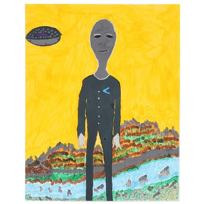 Kim Bond Acrylic Painting of Peaceful Alien Wearing Chevron, 21st Century