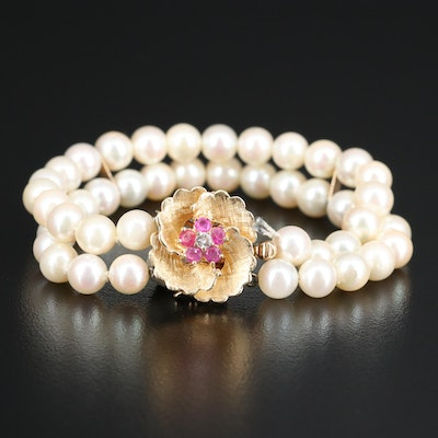 Pearl Double Strand Bracelet with Diamond and Ruby Floral Clasp
