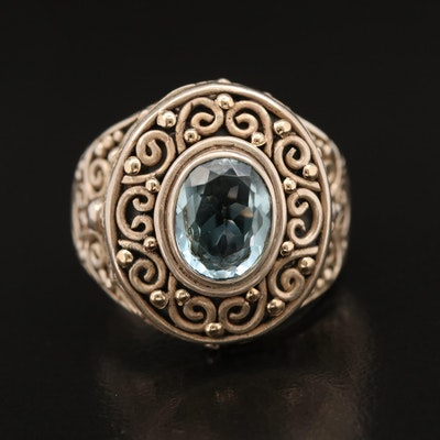 Sterling Silver Topaz Ring with Spiral Motif