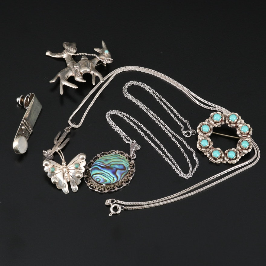 Sterling Assorted Jewelry Including Abalone, Moonstone and Turquoise