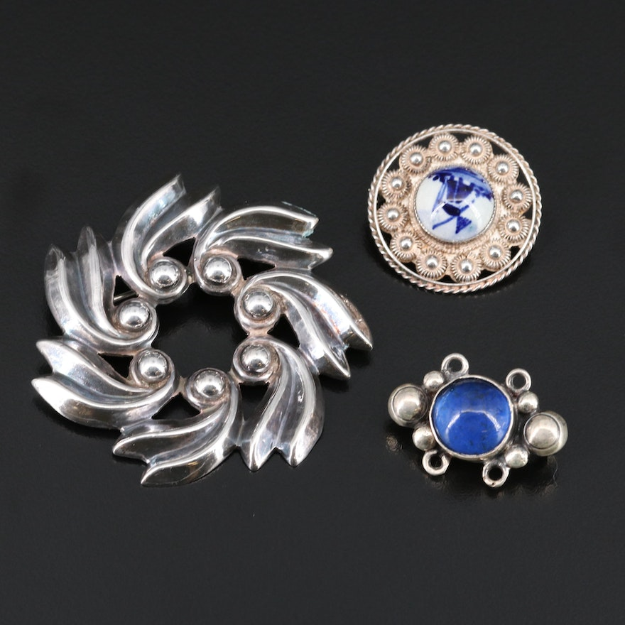 Sterling Brooches Including Porcelain and Glass