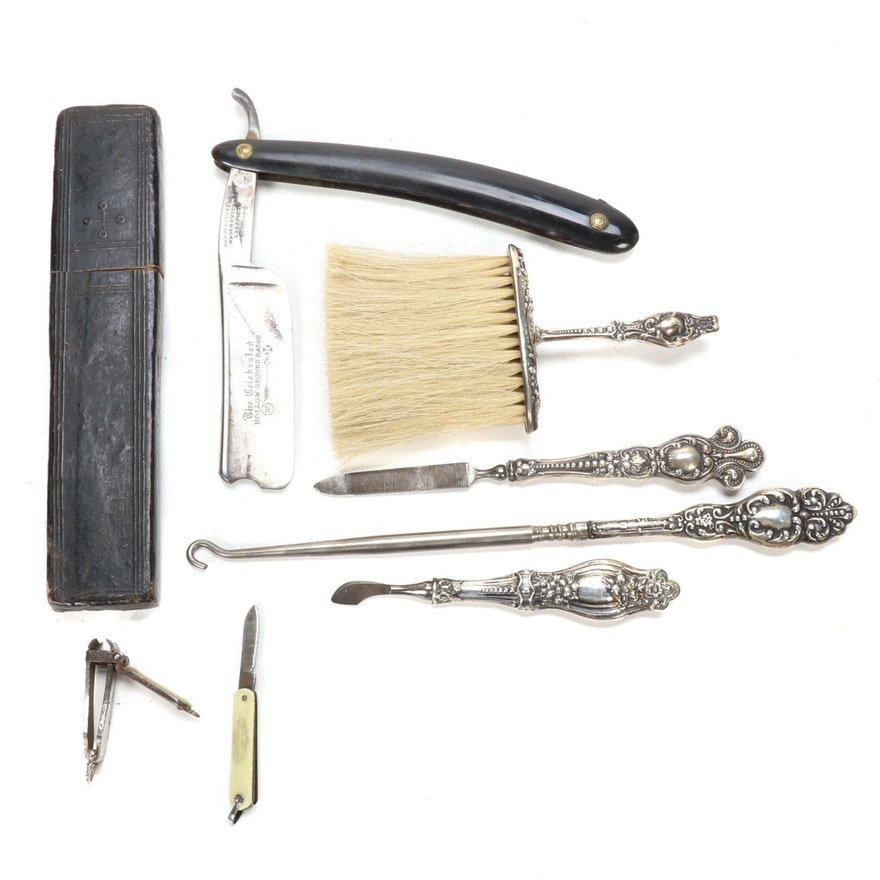 Sterling Silver Handled Vanity Tools with Other Grooming Tools, Early 20th C.