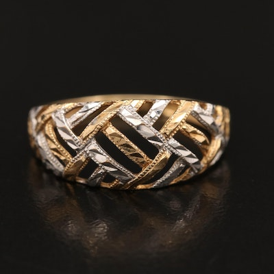 10K Diamond Cut Latticework Ring