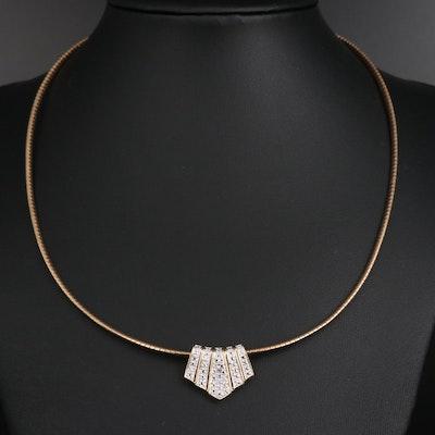 Sterling Silver Diamond Slide Pendant Necklace