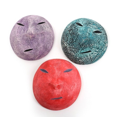 Hand-Painted Ceramic Face Wall Hangings
