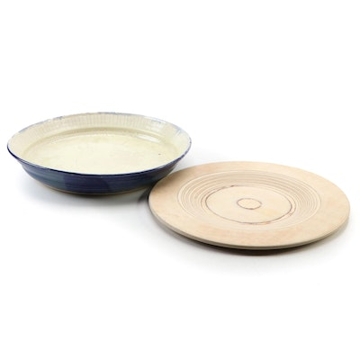 Rob Gentry Pottery Platter with Design Saarinen Turned Wood Charger