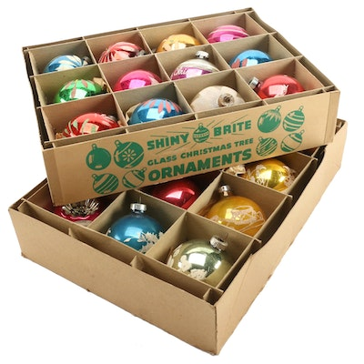 Shiny Brite and Northern American Glass Co. Christmas Ornaments in Packaging
