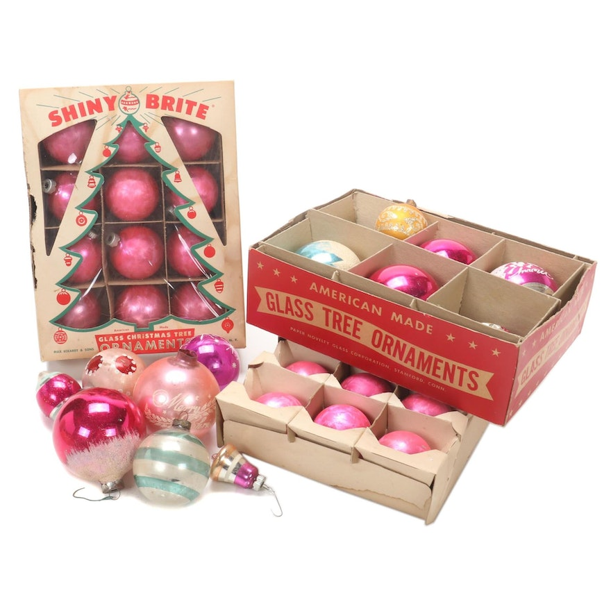 Shiny Brite and Other Glass Christmas Ornaments, Mid to Late 20th Century