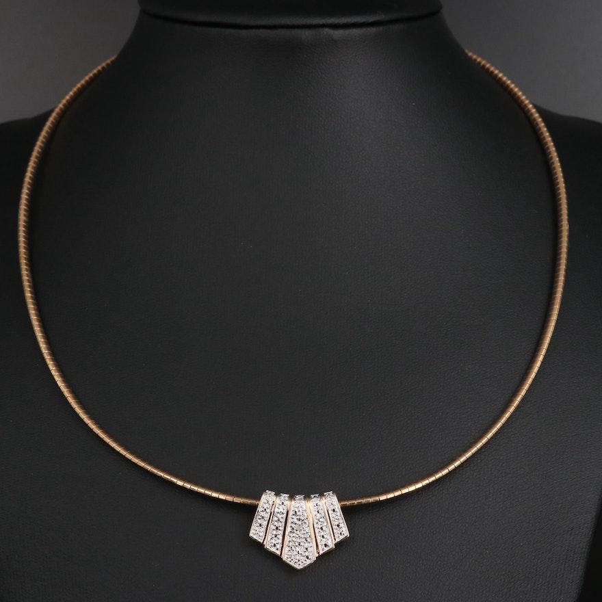 Sterling Silver Diamond Slide Pendant on Omega Link Chain