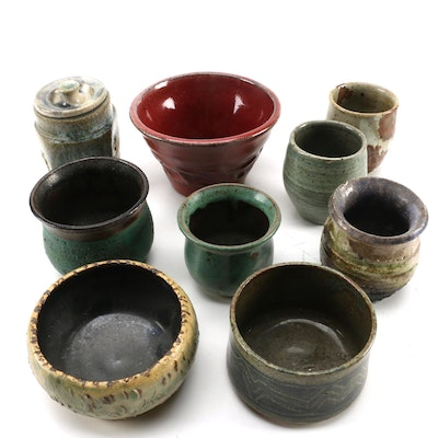 Ceramic Wheel-Thrown Cups and Vessels, Mid to Late 20th Century