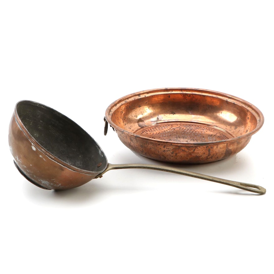 Copper Strainer and Saucepan, Mid-Late 20th Century