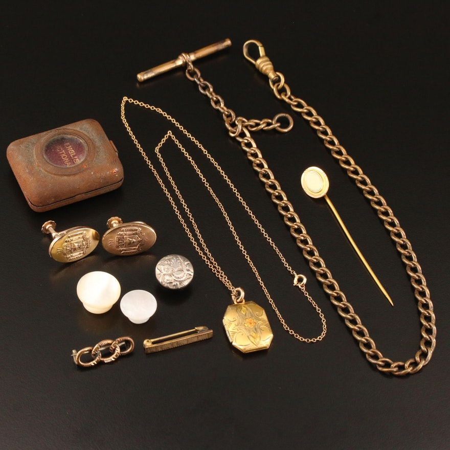 Antique and Vintage Mix of Jewelry Featuring a Miniature Dictionary Pendant