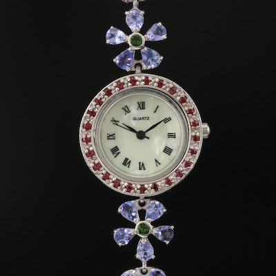 Sterling Silver Gemstone Wristwatch Featuring Floral Motif Bracelet