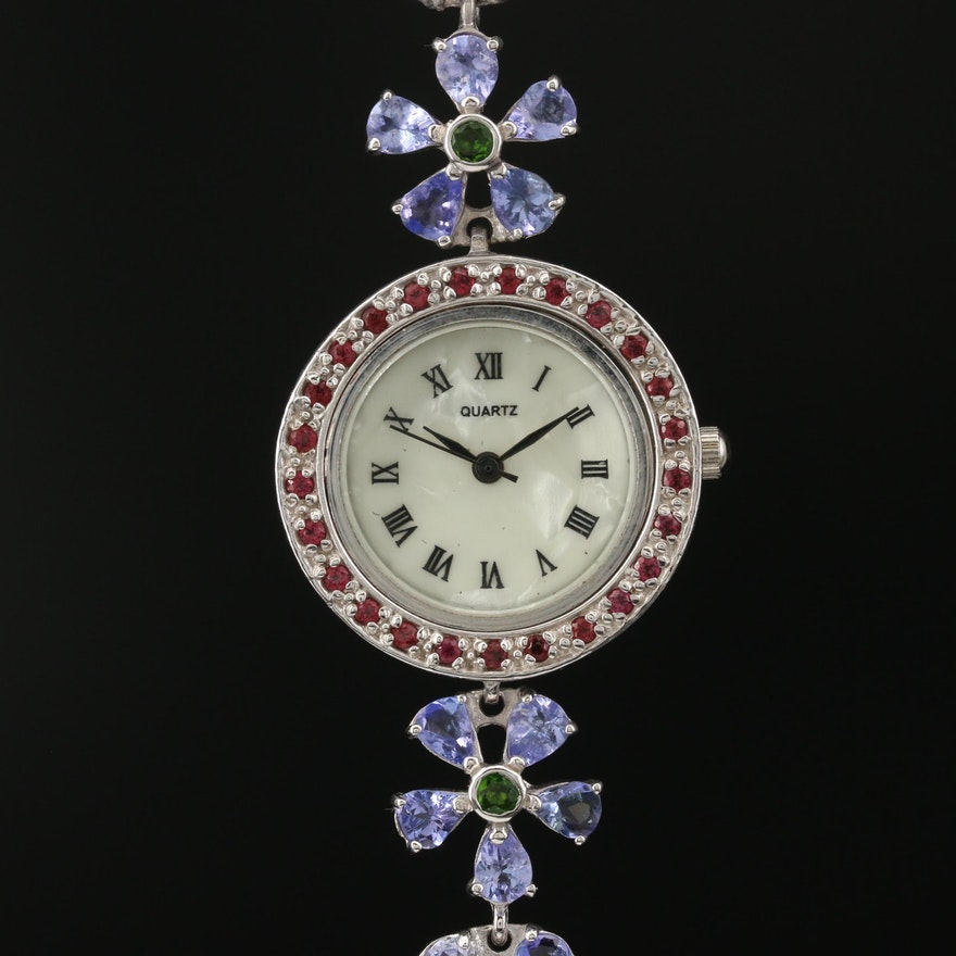 Sterling Silver Gemstone Wristwatch Featuring Floral Motif Bracelet