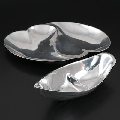 "Mariposa ""High Seas"" and Heart Shaped Recycled Aluminum Serving Dishes"