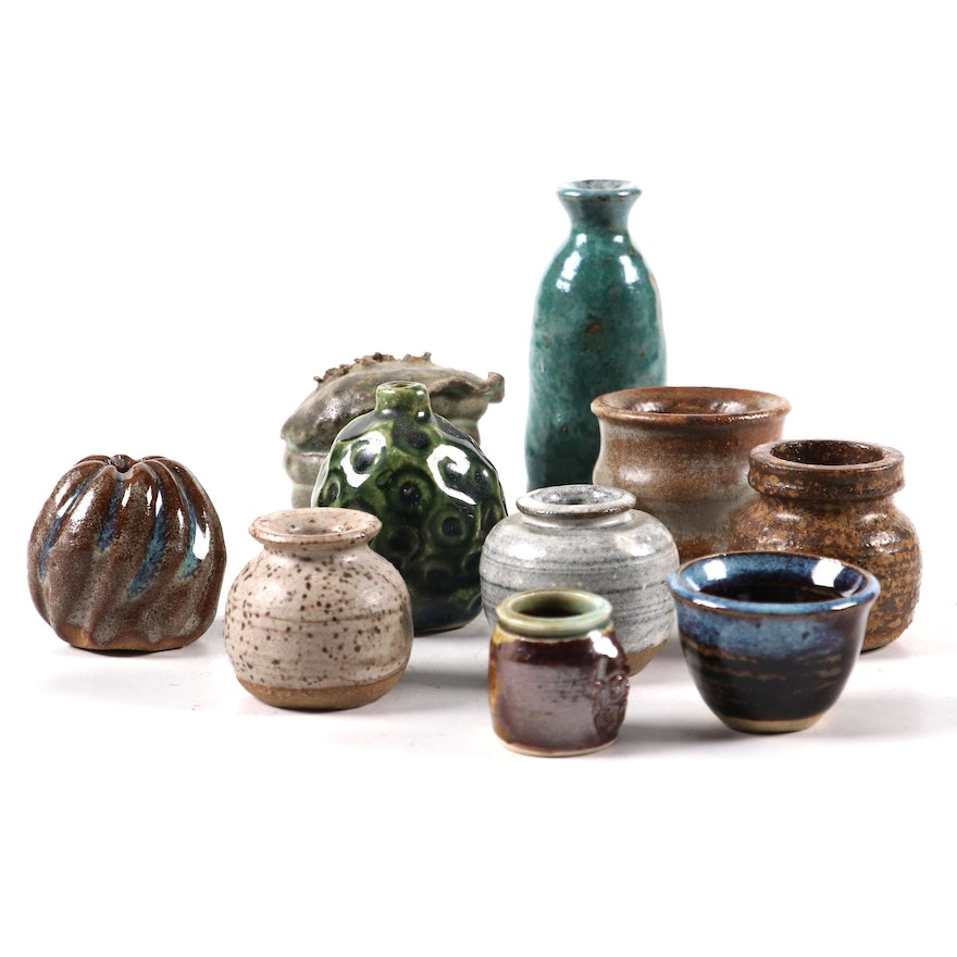 Ceramic Vessels and Bud Vases, Mid to Late 20th Century