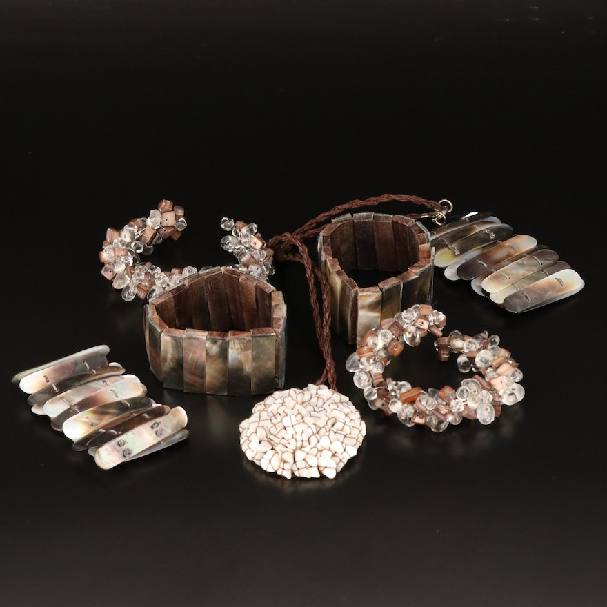 Selection of Mother of Pearl Jewelry with Agate, Glass and Wood