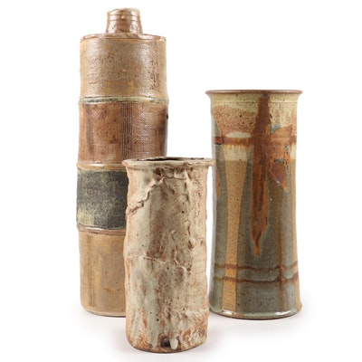 Helene Plamann Hand Built Slab Pottery Vase with Other Stoneware Vases