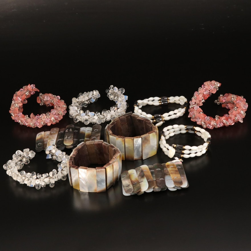 Assortment of Bracelets Featuring Hematite and Mother of Pearl