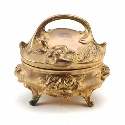 Art Nouveau Style Gilt Metal Silk Lined Casket