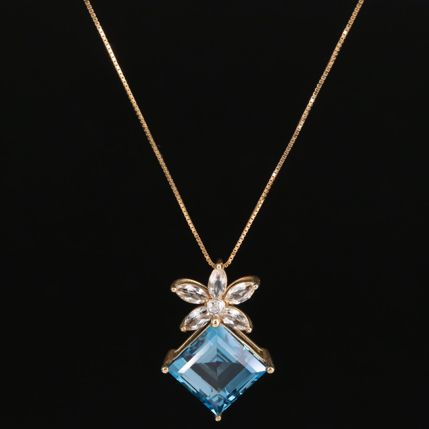 10K Topaz and Diamond Pendant Necklace