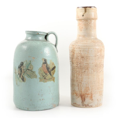 Painted Stoneware Jug with Bird Transfer and Glazed Stoneware Vase