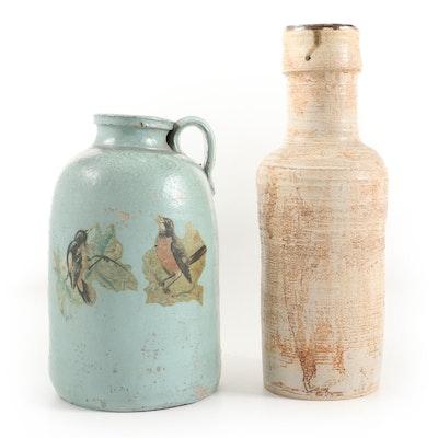 Painted Stoneware Jug with Bird Transfer and Glazed Stoneware Vase