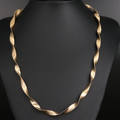 Sterling Twisted Omega Chian Necklace